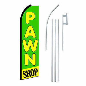Pawn Shop Grn yel 15 Complete Swooper Flag Starter Kit Bow Feather