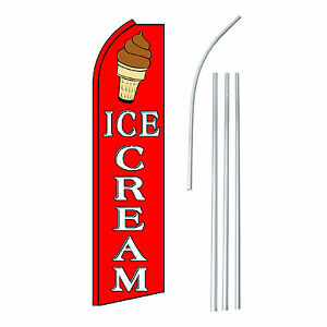 Ice Cream Advertising Feather Flutter Swooper 2 5 Banner Flag And Pole Only
