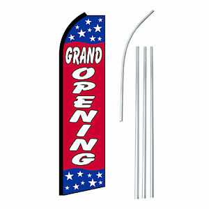 Grand Opening Stars Advertising Feather Flutter Swooper 2 5 Banner Flag And Pole