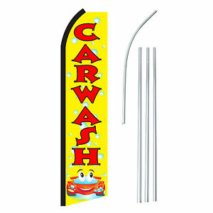 Carwash Yr Advertising Feather Flutter Swooper 2 5 Banner Flag And Pole Only