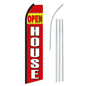 Open House Rd Advertising Feather Flutter Swooper 2 5 Banner Flag And Pole Only