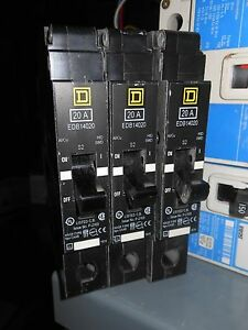 3 Square D Ejb14020 20amp 1pole 480v Panel Board Circuit Breaker 1yr Warranty