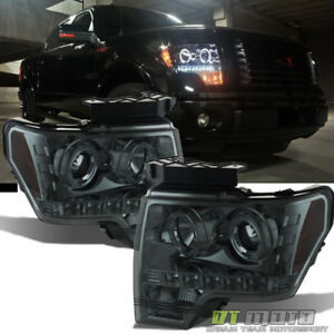 2009 14 Ford F 150 F150 Dual Led Halo Smoked Projector Headlights Headlamps Pair