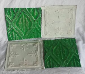 1890 S 4 6 X 6 Antique Tin Ceiling Tiles Green White Ap21 Reclaimed Metal