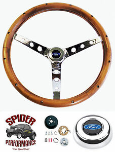 65 69 Fairlane Galaxie 500 Ranchero Steering Wheel Blue Oval 15 Classic Walnut