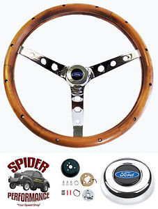 1965 1970 Falcon Steering Wheel Blue Oval 15 Classic Walnut Steering Wheel