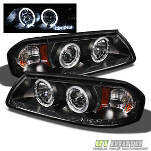 Blk 2000 2005 Chevy Impala Led Dual Halo Projector Headlights Lights Left Right
