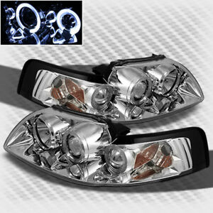 For 1999 2004 Ford Mustang Twin Halo Projector Headlights Head Lights Lamp Pair