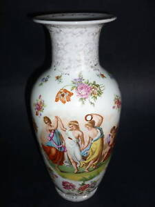 Austria Porcelain 3 Dancing Woman Portrait 12 1 2 Vase Absolutely Gorgeous