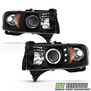 Blk 1994 2001 Dodge Ram 1500 94 02 2500 3500 Led Halo Projector Headlights Pair
