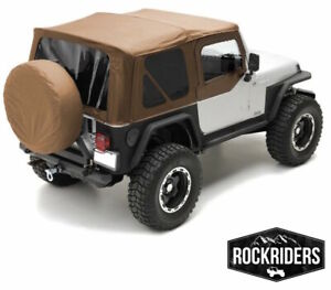1997 2006 Jeep Wrangler Replacement Canvas Top Upper Skin Rear Windows Spice