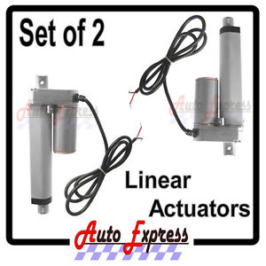 2 Water Resistant Linear Actuators 4 Inch Stroke 225 Pound Max Lift 12 Dc