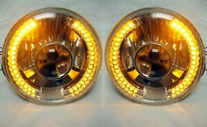 Street Hot Rod 7 Projector Glass Headlights W Amber Halo Led Turn Signals Pair