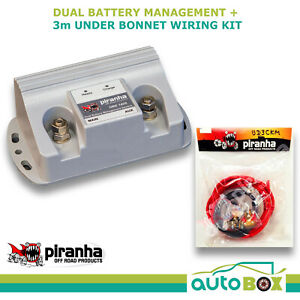 Piranha Dual Battery Management System Isolator 140amp 3m Cable Kit Colorado