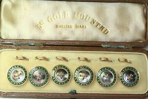 Antique Set Of 6 9ct Gold Mother Of Pearl Enamel Vest Buttons In Original Case