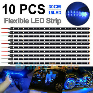 10x Yellow1 Ft 15 Led Car Motor Truck Boat Flexible Strip Light Waterproof 12v