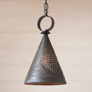 Primitive Punched Tin Light Center Down Rustic Witch Hat Country Pendant Lamp