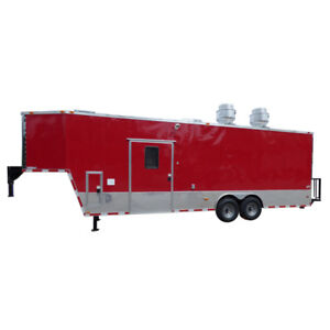 Concession Trailer 8 5 X 30 Red Gooseneck Event Catering Food Custom