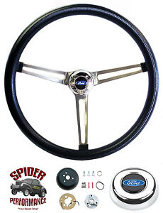 1963 1964 Fairlane Galaxie Steering Wheel Blue Oval 15 Muscle Car Stainless