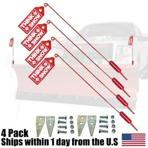 4pk Snow Plow Blade Guide Markers Flags For Western 59700 1308210 410007 Snp7900