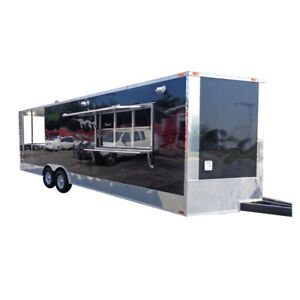 Concession Trailer 8 5 X 26 Catering Food Event Bbq Custom Enclosed black