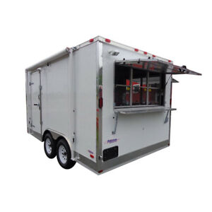 Concession Trailer 8 5 x14 White Event Custom Enclosed Kitchen