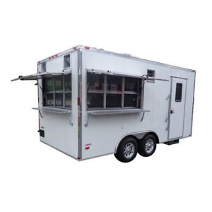 Concession Trailer 8 5 x16 White Event Food Catering Enclosed Kitchen