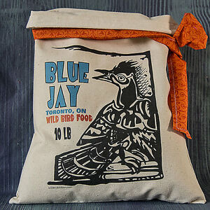 Primitive Flour Sack Vintage Rustic Feedsack Country Blue Jay Folk Art Birds