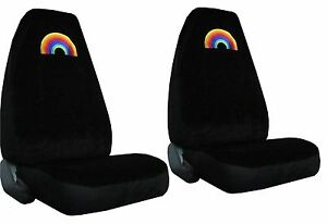 Velour Rainbow Gay Pride Lesbian High Back Bucket Car Truck Suv Seat Covers