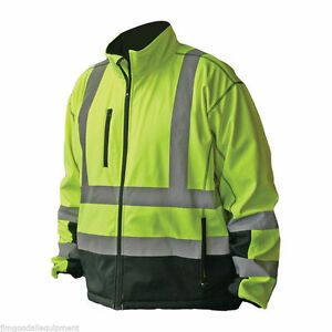 Hi vis Premium Soft Shell Jacket meets Ansi isea 107 2010 Class 3 Standards
