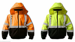 Hi vis Insulated Bomber Jacket meets Ansi isea 107 2010 Class 3 Standards