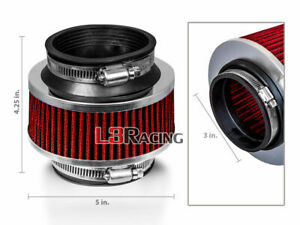 3 Inch 76mm Universal Type Bypass Valve Red Filter For Chevry Cold Air Intake
