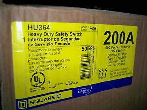 Square D Hu364 200amp 600v Non Fused Disconnect Safety Switch New Warranty