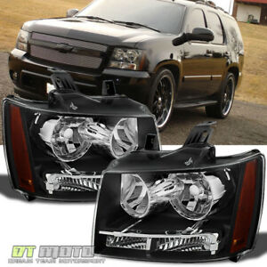 Black 2007 2014 Chevy Suburban Tahoe Avalanche Headlights Aftermarket Left Right