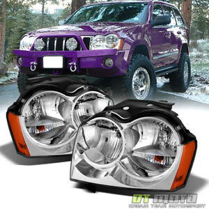 2005 2007 Jeep Grand Cherokee Replacement Headlights Headlamps Pair Left Right