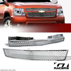 For 2007 2014 Tahoe Suburban Avalanche Chrome Ltz Mesh Upper Front Grill Grille