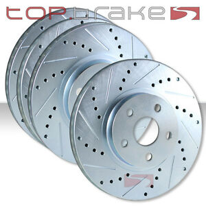 Front Rear Set Performance Cross Drilled Slotted Brake Disc Rotors Tbs12343