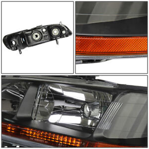 Fit Jdm Honda Accord 98 02 4cyl V6 2 4dr Black Headlights Amber Corner Light