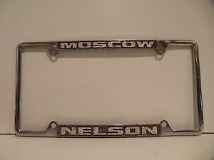 Moscow Nelson Chevrolet Dealership License Plate Frame Metal Embossed Holder Gmc