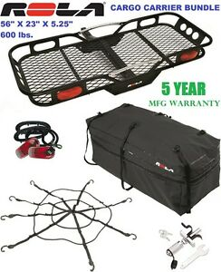 Rola 600lb Cargo Carrier Basket Bag Net Silent Hitch Pin Lock Light Kit