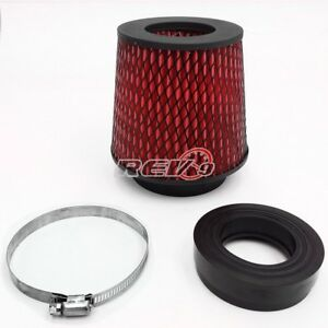 Universal Dry Flow Air Filter Intake Cone Cooler W 2 25 To 4 Inch Adapter Red