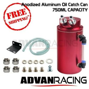 Universal Aluminum Turbo Oil Catch Can Tank Type 1 750ml Red 6061 T6 Aluminum
