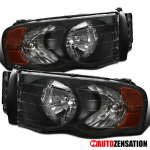 For 2002 2005 Dodge Ram 1500 2500 3500 Black Clear Headlights Lamps Pair Amber