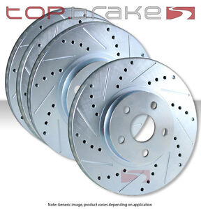 Front Rear Set Performance Cross Drilled Slotted Brake Disc Rotors Tbs35319