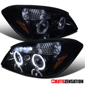 For 2005 2010 Chevy Cobalt Glossy Black Smoke Led Dual Halo Projector Headlights