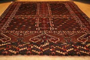 Nomad Rug Antique Tekke Turkmen Hatchli Design Circa Late 1800 S Size 4 4 X5 7