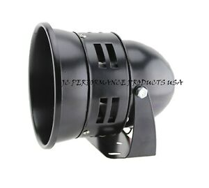 12 Volt Motor Driven Black Air Raid Siren Horn Police Fire Alarm Car Truck Loud
