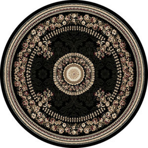 Black French Oriental Area Rug 8x8 Round Persien 023 Actual 7 10 X 7 10