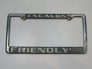 Escalon Friendly Chevy Dealership License Plate Frame Embossed Metal Chrome