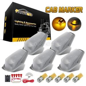 5 Cab Roof Clearance 15442 Clear Lights Amber Free 194 Leds For 80 97 Ford F 250